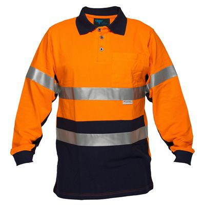 Image for PRIME MOVER MP619 HI VIS COTTON PIQUE POLO SHIRT LONG SLEEVE WITH TAPE 2 TONE from OFFICE NATIONAL CANNING VALE, JOONDALUP & OFFICE TOOLS OPD