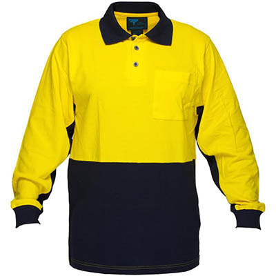 Image for PRIME MOVER MD619 HI VIS COTTON PIQUE POLO SHIRT LONG SLEEVE 2 TONE from OFFICE NATIONAL CANNING VALE, JOONDALUP & OFFICE TOOLS OPD