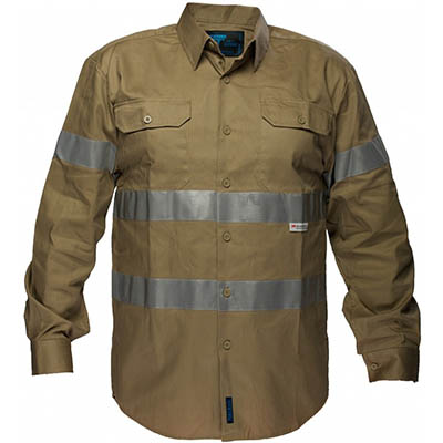 Image for PRIME MOVER MA908 COTTON DRILL SHIRT LONG SLEEVE WITH TAPE from OFFICE NATIONAL CANNING VALE, JOONDALUP & OFFICE TOOLS OPD