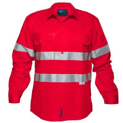 Image for PRIME MOVER MA301R HI-VIS LIGHTWEIGHT COTTON DRILL SHIRT LONG SLEEVE WITH TAPE RED from Ezi Office Supplies Gold Coast