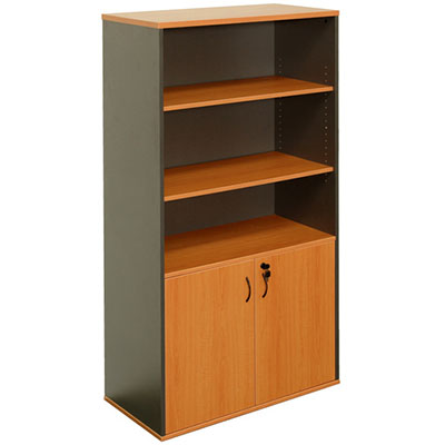 Image for OXLEY HALF DOOR STATIONARY CUPBOARD 900 X 450 X 1800MM BEECH/IRONSTONE from Wetherill Park / Smithfield Office National