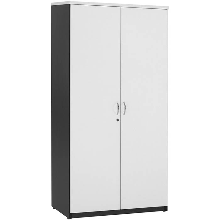 Image for OXLEY FULL DOOR STORAGE CUPBOARD 900 X 450 X 1800MM WHITE/IRONSTONE from Wetherill Park / Smithfield Office National