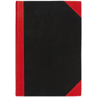 BLACK AND RED NOTEBOOK CASEBOUND FEINT RULED 100 LEAF A4