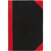 BLACK AND RED NOTEBOOK CASEBOUND FEINT RULED 100 LEAF 200 X 163MM