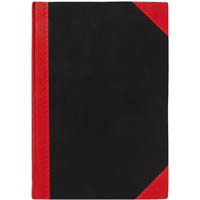 BLACK AND RED NOTEBOOK CASEBOUND FEINT RULED 100 LEAF 180 X 128MM