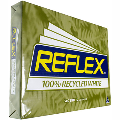 Image for REFLEX A3 CARBON NEUTRAL 100% RECYCLED COPY PAPER 80GSM WHITE PACK 500 SHEETS from Our Town & Country Office National