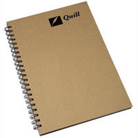 QUILL HARD COVER SPIRAL NOTEBOOK 168 PAGE A4 NATURAL