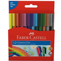 FABER-CASTELL CONNECTOR PENS ASSORTED PACK 12