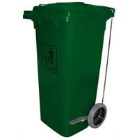 CLEANLINK TROLLEY GARBAGE BIN HEAVY DUTY WITH FOOT PEDAL 120 LITRE GREEN