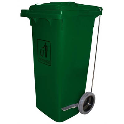 Image for CLEANLINK TROLLEY GARBAGE BIN HEAVY DUTY WITH FOOT PEDAL 240 LITRE GREEN from Wetherill Park / Smithfield Office National