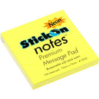 STICK ON NOTES 100 SHEETS 76 X 76MM NEON YELLOW PACK 12