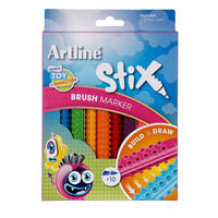 ARTLINE STIX BRUSH MARKER ASSORTED PACK 10