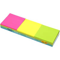 STICK ON NOTES 50 SHEETS 76 X 76MM NEON ASSORTED PACK 12