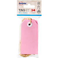 AVERY 13201 TAG-IT WITH STRING SIZE 3 PASTEL PINK PACK 24