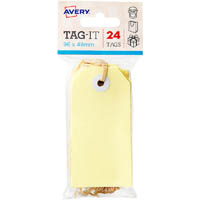 AVERY 13205 TAG-IT WITH STRING SIZE 3 PASTEL YELLOW PACK 24