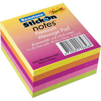 STICK ON NOTES 50 SHEETS 50 X 50MM NEON ASSORTED