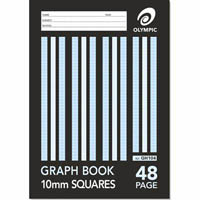 OLYMPIC GH104 GRAPH BOOK 10MM SQUARES 48 PAGE 55GSM A4