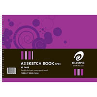 OLYMPIC SKETCH BOOK SIDE OPENING 110GSM 40 PAGE A3 PACK 10