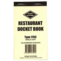 ZIONS 17SC RESTAURANT DOCKET BOOK SINGLE COPY 172 X 100MM