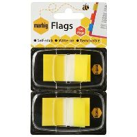 MARBIG FLAGS POP-UP 50 FLAGS 25 X 44MM YELLOW PACK 2