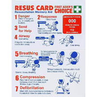FIRST AIDERS CHOICE CPR RESUSCITATION POCKET CARD