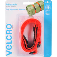 VELCRO BRAND HI VIS STRAPS ADJUSTABLE 550 X 25MM PACK 2