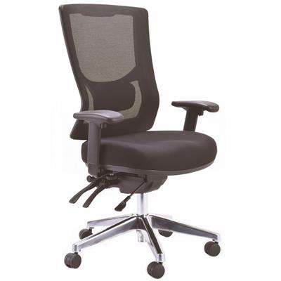 Image for BURO METRO II MESH CHAIR EXTRA HIGH BACK POLISHED ALUMINIUM BASE WITH ARMS BLACK from Office National Perth CBD