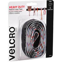 VELCRO BRAND HEAVY DUTY STICK ON BLACK 25MM X 1M