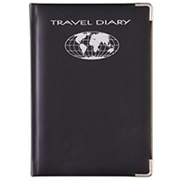DEBDEN TRAVEL DIARY UNDATED PU COVER A5 210 X 148MM BLACK/SILVER EDGES AND CORNERS