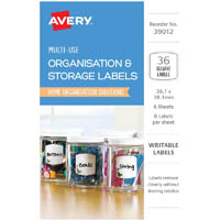AVERY 39012 ORGANISATIONAL AND STOREAGE LABELS SQUARE 38.1 X 38.1MM WHITE WITH BUTTERFLIES PACK 36