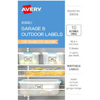 AVERY 39016 DURABLE REMOVABLE LABELS 95.2 X 63.5MM WHITE WITH GREEN BORDER PACK 10