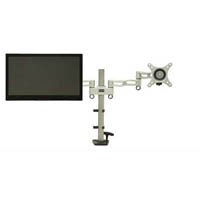 DAC MONITOR ARM DOUBLE ADJUSTABLE ARTICULATING SILVER