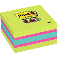 POST-IT 2027-SSGFA SUPER STICKY MEMO CUBE 76 X 76MM BRIGHT COLOURS
