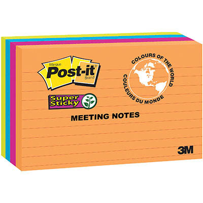 Image for POST-IT 5845-SSUC SUPER STICKY LINED NOTES 123 X 200MM RIO DE JANEIRO PACK 4 from Office National Kalgoorlie