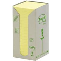 POST-IT 654-RTY RECYCLED NOTES 76 X 76MM YELLOW PACK 16