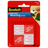 SCOTCH 108-SML REMOVABLE MOUNTING SQUARES 13 X 13MM PACK 16
