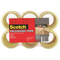 SCOTCH 400 PACKAGING TAPE ROLL 48MM X 75M CLEAR PACK 6