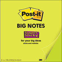 POST-IT BN22 SUPER STICKY BIG NOTE 558 X 558MM GREEN 30 SHEETS
