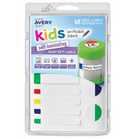 AVERY 41433 KIDS WRITEABLE SELF-LAMINATING LABELS ASSORTED NEON PACK 48