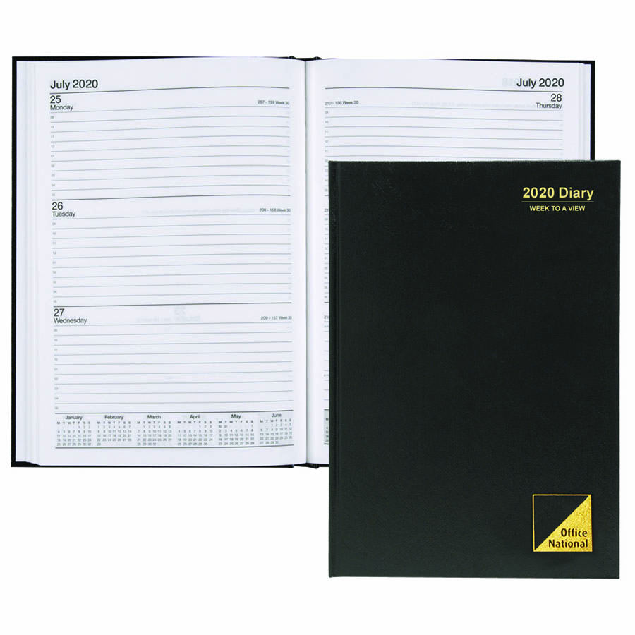 Image for OFFICE NATIONAL 2020 DIARY 2 DAYS TO PAGE 1 HOUR A4 BLACK from Paul John Office National