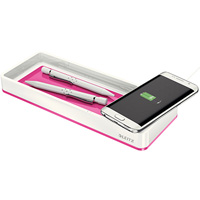 LEITZ WOW DESK ORGANISER WITH INDUCTION CHARGER PINK