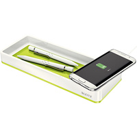 LEITZ WOW DESK ORGANISER WITH INDUCTION CHARGER GREEN