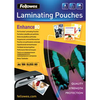 FELLOWES ENHANCE LAMINATING POUCHES PRE PUNCHED 80 MICRON A4 PACK 100