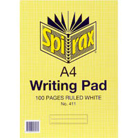 SPIRAX 411 WRITING PAD 8MM RULED A4 100 PAGE