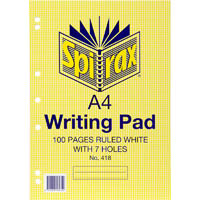 SPIRAX 418 WRITING PAD 7 HOLES 8MM RULED 100 PAGE A4 WHITE