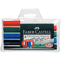 FABER-CASTELL WHITEBOARD MARKERS ASSORTED WALLET 4
