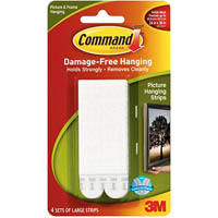 COMMAND PICTURE HANGING STRIPS LARGE WHITE PACK 4 PAIRS