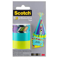 SCOTCH C214 EXPRESSIONS MAGIC TAPE TRIBAL/TURQUOISE/LIME GREEN PACK 3