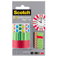 SCOTCH C214 EXPRESSIONS MAGIC TAPE DOTS/LINES/GREEN PACK 3