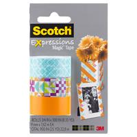 SCOTCH C214 EXPRESSIONS MAGIC TAPE GLYPHS/CLASSIC TRIANGLE/ORANGE PACK 3